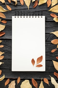Top view of autumn leaves with notebook