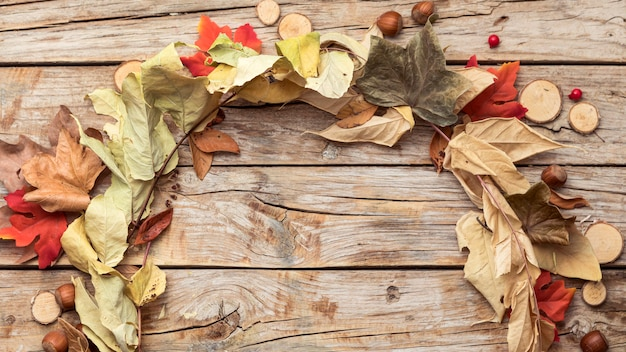 Top view of autumn leaves wreath
