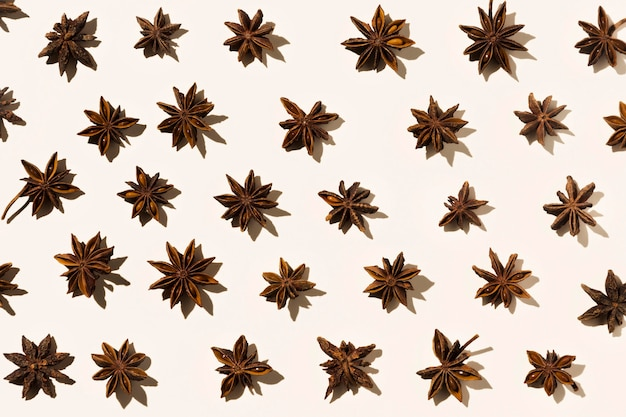 Top view of autumn star anise
