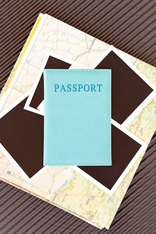 Top view autumn traveling arrangement with passport