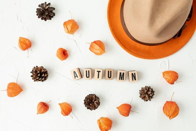 Top view autumnal arranegement with pine cones