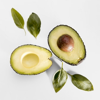Top view of avocado with spinach
