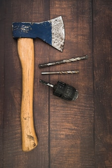 Top view axe with drilling bits