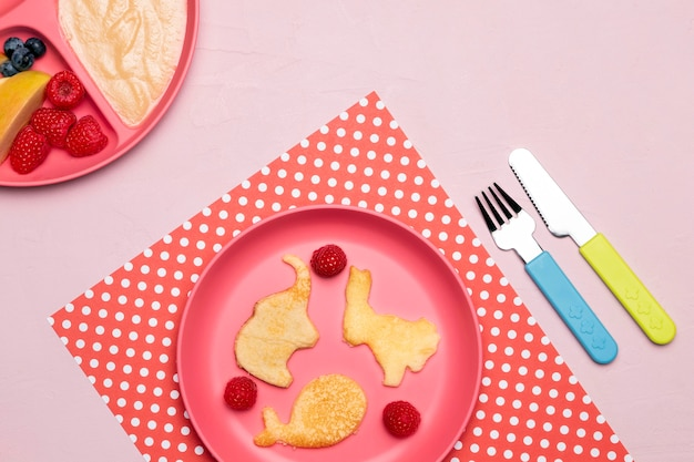 Top view of baby food on plate with raspberries