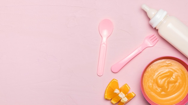 Top view of baby food with baby bottle and copy space
