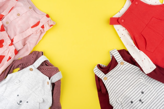 Top view of baby girl clothes