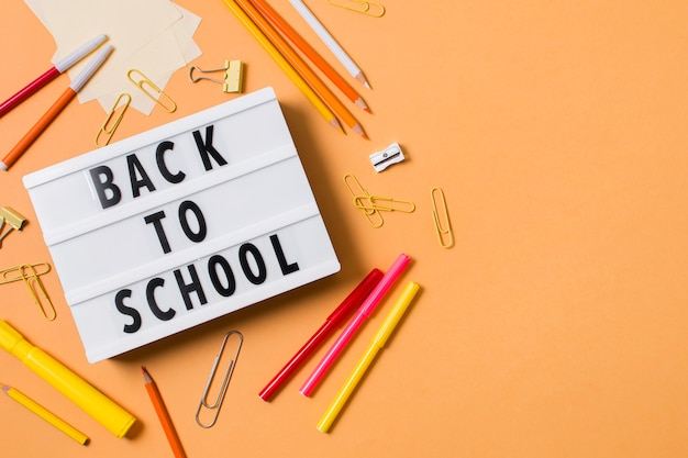 Top view of back to school concept