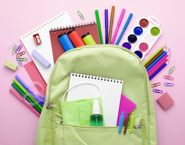 Top view of back to school stationery with backpack and pencils