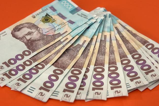 ウクライナ1000、uahの新しい紙幣の上面図の背景。経済的背景