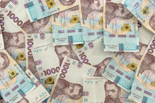 ウクライナ1000、uahの新しい紙幣の上面図の背景。