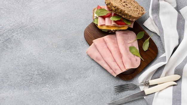 Top view of bacon and tomatoes sandwich with copy space
