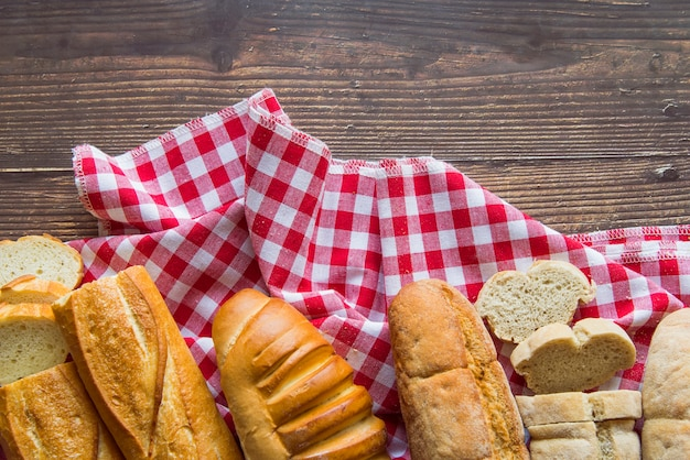 Top view baguette assortment on a cloth