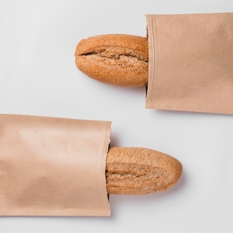Top view baguettes in packaging