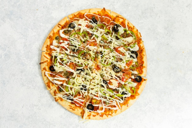 Top view of baked pizza