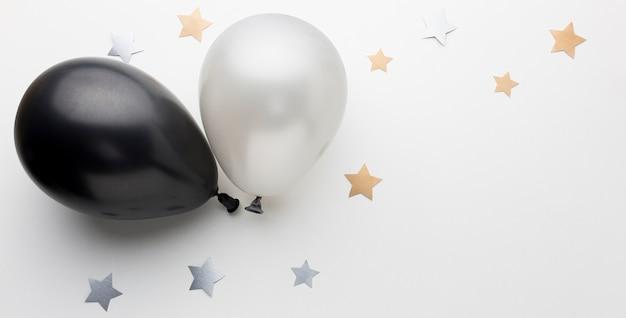 Вид сверху шары для вечеринки с копией пространства