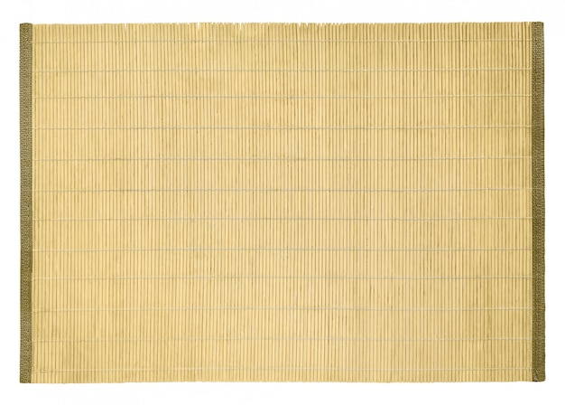 Top view of bamboo table place mat for sushi and other food