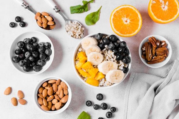 Top view of banana and organic fruits