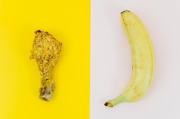 Top view banana vs fried chicken