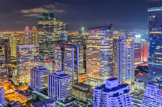 Top view bangkok financial district, business building and shopping mall center at southeast asia