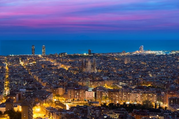 Top view of barcelona city skyline during evening in barcelona, catalonia, spain.