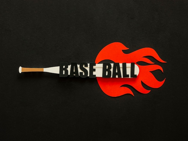 Top view of baseball bat with flames