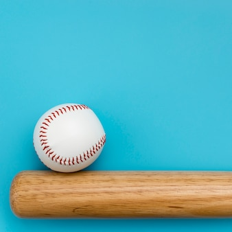 Top view of baseball with bat and copy space