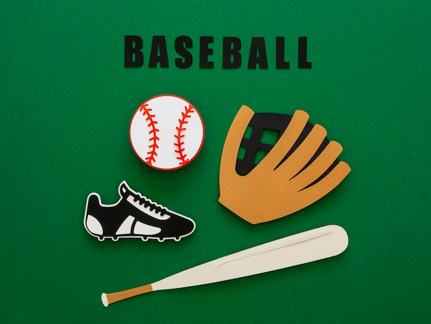Top view of baseball with bat, glove and sneaker