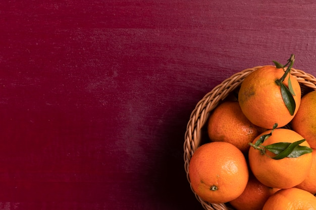 Top view of basket of tangerines for chinese new year