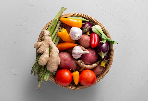 Top view basket with assortment of vegetables