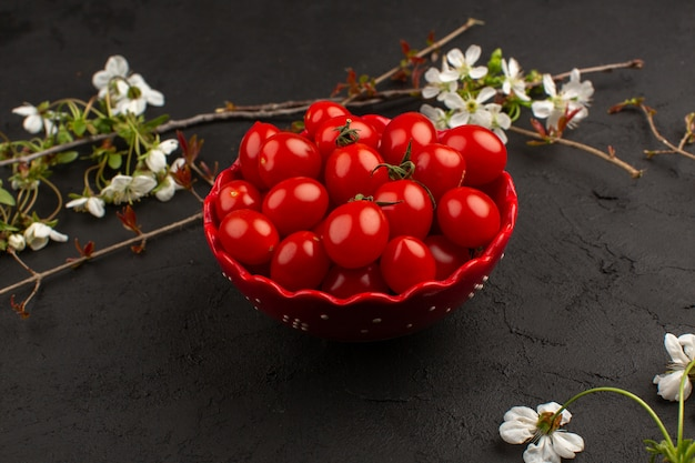 Top view basket with tomatoes along with white flowers on the dark