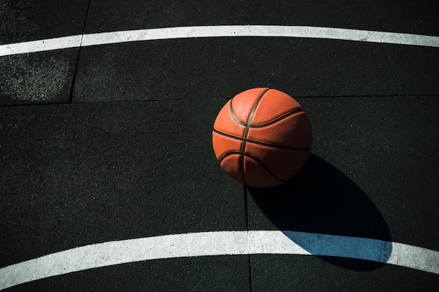 Top view basketball on court