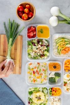 Top view batch cooking arrangement with healthy food