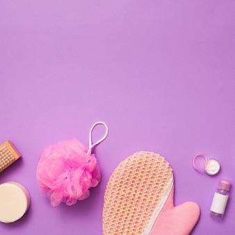 Top view bath concept on purple background