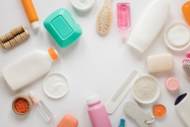 Top view of bath products arrangement