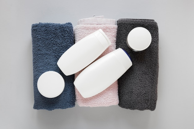 Top view of bath soap and towels