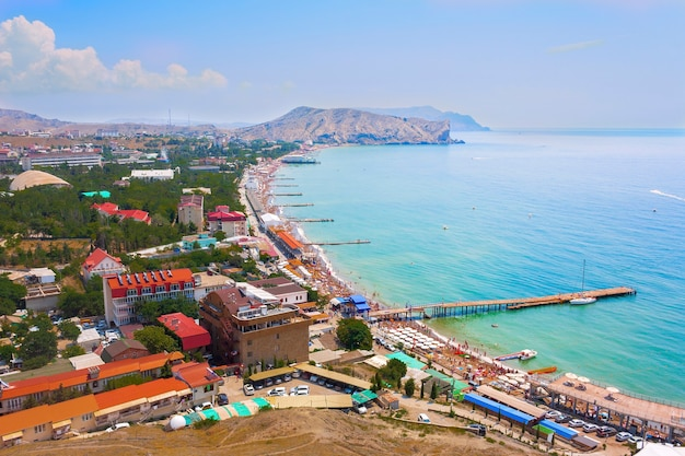 Top view of the bay with a beach in the city of sudak in the crimea