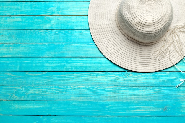 Top view of beach hat
