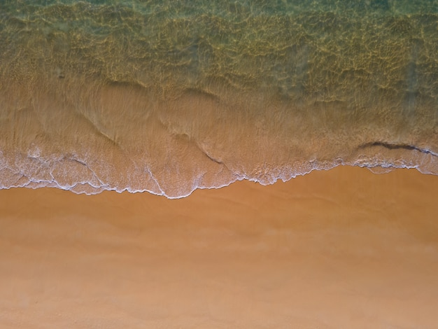 Top view beach sea sand in sunset