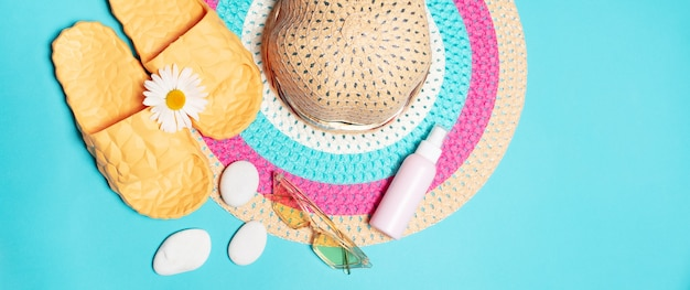 Top view of beach set accessories for women