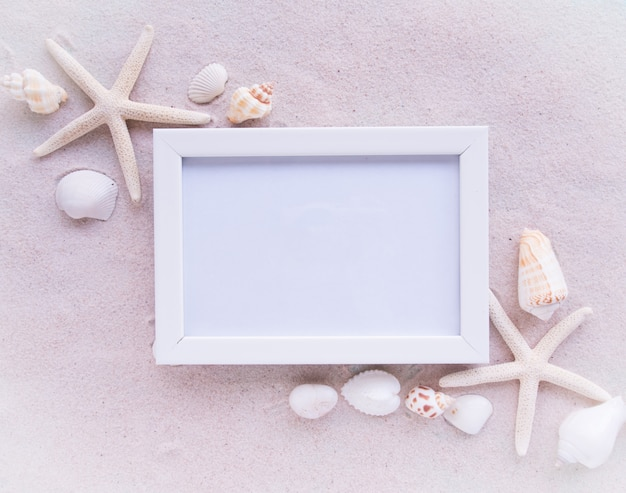 Top view, beach, shell and white picture frame.