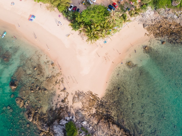 Top view beach at sunset time.
