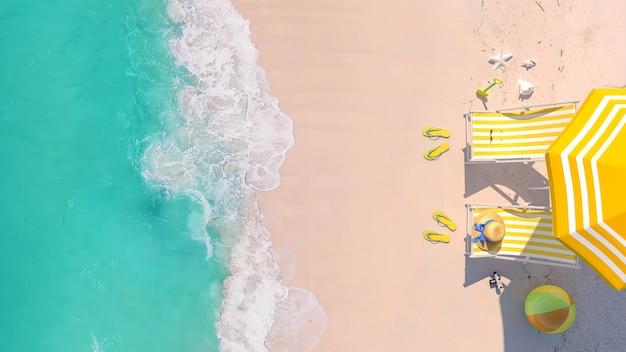 상위 뷰, 복사 공간, 3d 렌더링 해변 여행 여름 휴가 휴가 개념 배경