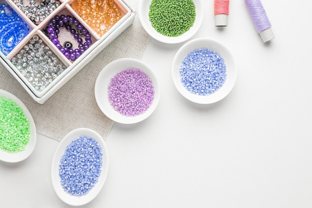 Top view of bead working essentials with copy space