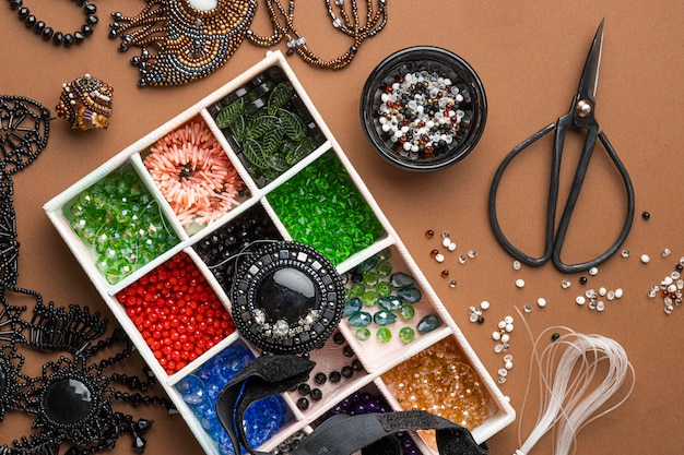 Top view of bead working essentials