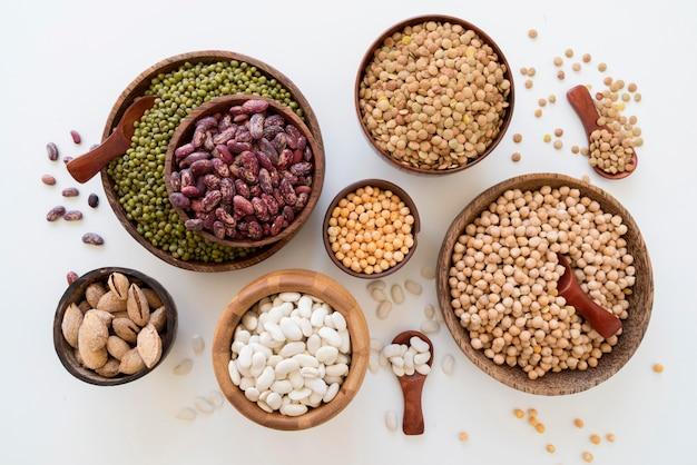 Top view of beans arrangement concept