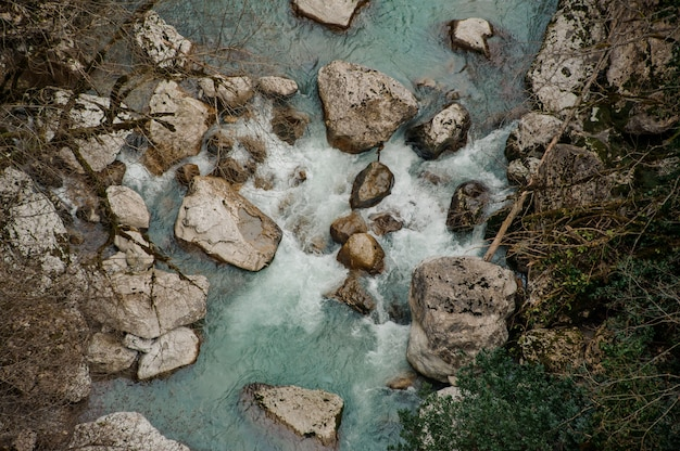 Top view of a beautiful azure river in georgia