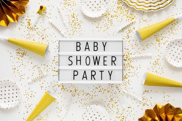 Vista dall'alto del bellissimo concetto di baby shower