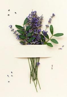 Top view beautiful lavender bouquet
