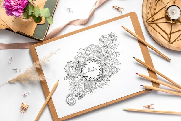 Top view of beautiful mandala concept