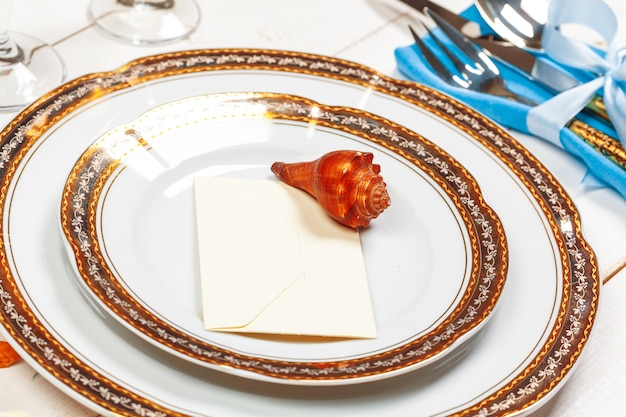 Top view of a beautiful table setting